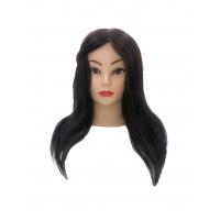 Учебная голова для стрижек Матильда 30-40 см шатенка с настольным ШТАТИВОМ. 100% натуральные волосы Human hair 230C, D 50 см, густота medium