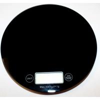 Круглые весы электронные. Максимальный вес 5 кг, цена деления 1г, цвет черный, батарейка CR2032 в комплекте, диаметр 18.5 см.