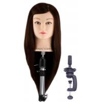Учебная голова Лолита 45-50 см арт.R010 шатенка с настольным ШТАТИВОМ. 50% натуральные 50% протеиновые волосы, D головы 53 см, густота medium