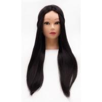 Учебная голова манекен Лера 50-60 см брюнетка с настольным ШТАТИВОМ для плетения косичек и стрижек. Высококачественные протеиновые волосы