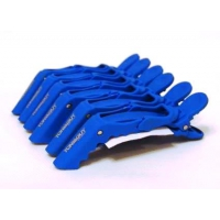 Зажим-дракон для волос TONI GUY L021 Синий пластиковый, упаковка 6 штук, длина 100 мм