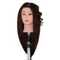 Учебная голова Елизавета 60 см шатенка с настольным ШТАТИВОМ. Натуральные волосы 70% Animal hair 30% Human hair 230C, D 53 см, плотность medium 250-280 волос см.кв