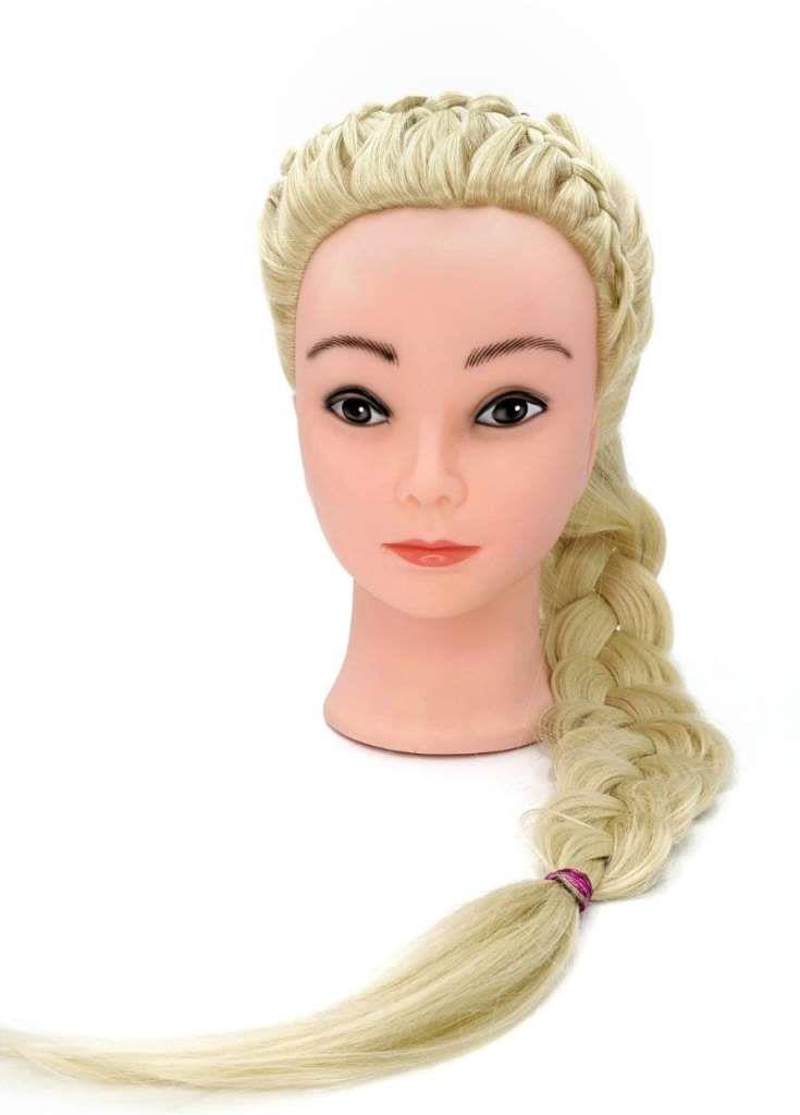 Учебная голова Яна 50-60 см блондинка с настольным ШТАТИВОМ для плетения косичек и стрижек. Высококачественные протеиновые волосы, medium 230-260 волос см.кв. Расческа в Подарок!