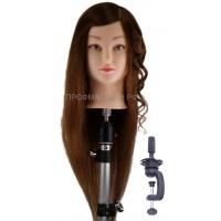 Учебная голова Лаура макси 45-55 см R003-24 шатенка с настольным ШТАТИВОМ. Натуральные волосы 100% Animal hair 180C, D 53 см, eco 190-200 волос см.кв