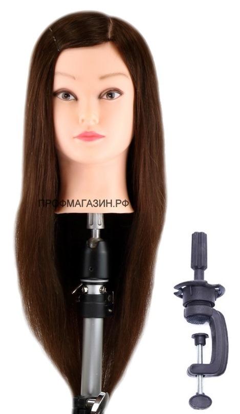 Учебная голова Лола 50-60 см арт.R010-1 шатенка с настольным ШТАТИВОМ. 50% натуральные 50% протеиновые волосы, нагрев 180С, D 53 см, eco 190-200 волос см.кв. Расческа в Подарок!