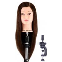 Учебная голова Лола 50-60 см арт.R010-1 шатенка с настольным ШТАТИВОМ. 50% натуральные 50% протеиновые волосы, нагрев 180С, D 53 см, густота medium