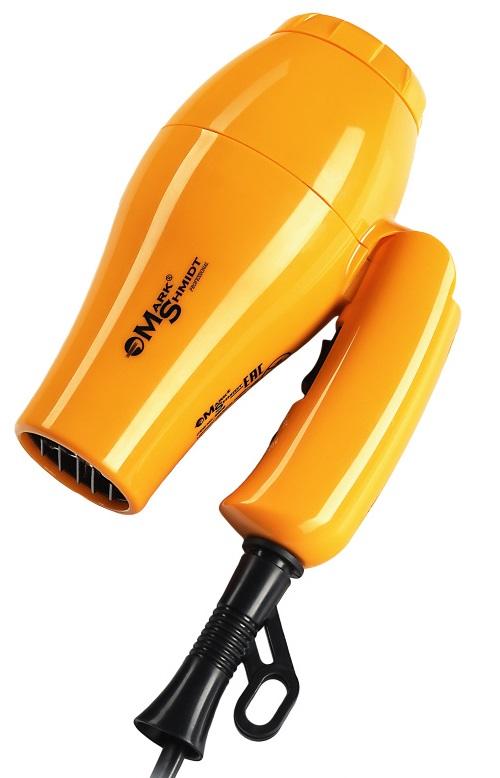 Дорожный фен Mark Shmidt 9908 Желтый 1000 Вт. Складной мощный фен,  диффузор, 1 насадка, дорожный чехол, вес 250 г, Mark Shmidt (Германия)