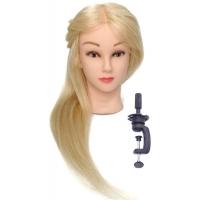 Учебная голова Елена 45-50 см блондинка с настольным ШТАТИВОМ. Натуральные волосы 100% Animal hair натуральный як 180C, D 53 см, eco 190-200 волос см.кв