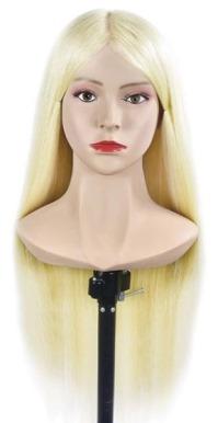 Учебная голова Марта 60-65 см блондинка без штатива. Манекен с плечами 80% натуральные 20% протеиновые волосы. Расческа в Подарок!