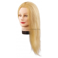 Манекен-голова Синди 40-50 см без штатива. 100% Human hair 230C для причесок. Цвет волос Светлый пшеничный, густота medium 200-230 волос см.кв