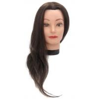 Манекен-голова Dewal M-4151L-6 Жоржетта 40-50 см без штатива. 100% Human hair 230C для причесок. Цвет волос Шатенка, густота medium 200-230 волос см.кв