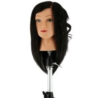 Учебная голова Dewal M-2023M-401 Моника 30-40 см брюнетка без штатива. 100% натуральные волосы Human hair 230C, D 51 см, medium 230-260 волос см.кв