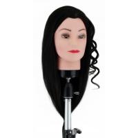Манекен-голова Dewal M-4151L-401 Изабелла 40-50 см без штатива. 100% Human hair 230C для причесок. Цвет волос Брюнетка, густота medium 200-230 волос см.кв