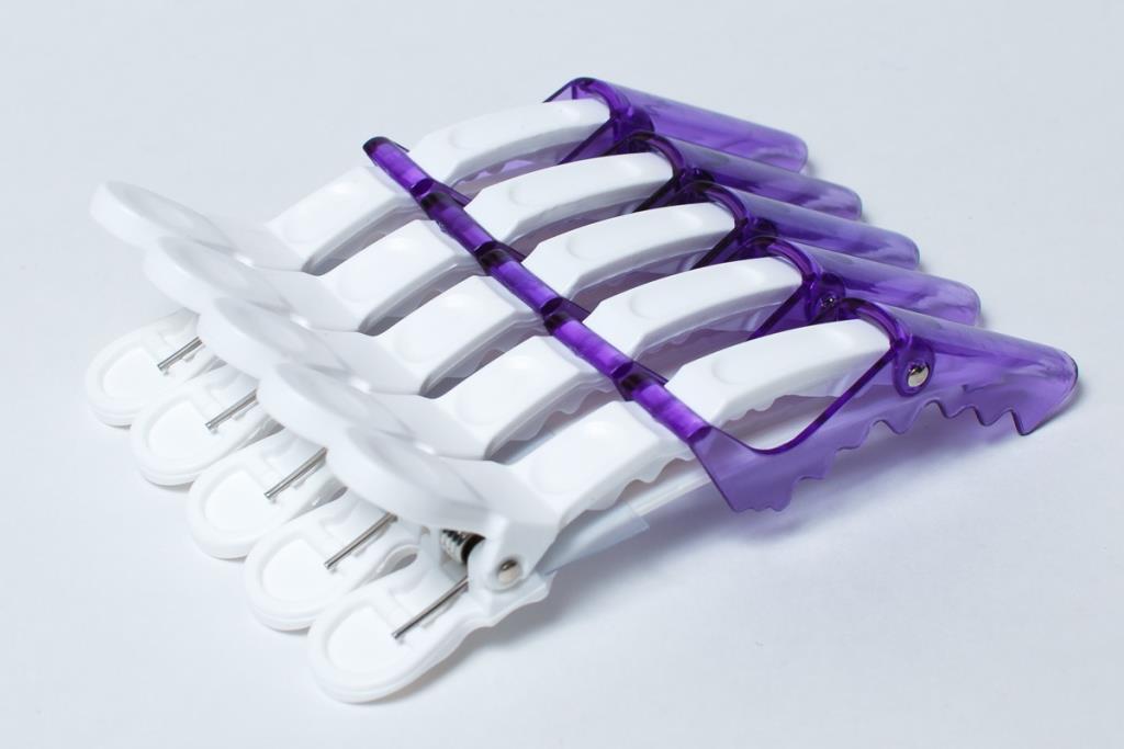 Зажим-дракон L036 Фиолетовый, 5 штук на блистере. Клипса для волос пластиковая, длина 110 мм